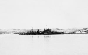 HMS TRINIDAD AT MURMANSK, 1942
