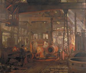 The 'L' Press. Forging the Jacket of an 18-inch Gun: Armstrong-Whitworth Works, Openshaw, 1918