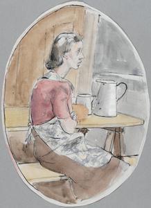 WVS Settlement, Fairford. Mrs Young, a helper