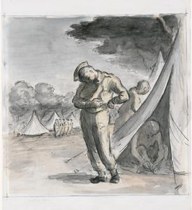 A Soldier Tying On His Respirator