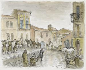 With the 8th Army on the Sangro, November 1943: Troops and Mule Trains in Torino di Sangro