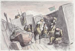 At Sea on an LCI (Landing Craft, Infantry)