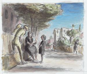 Soldiers Talking to a Woman and Children at Catollica