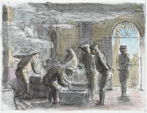 Gurkhas Cooking in the Hall of a Large Farmhouse