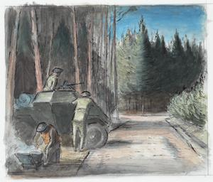 With the 8th Hussars in Germany : the crew of a scout-car keeping watch on a woodland road