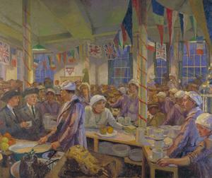 Christmas Day in the London Bridge YMCA Canteen: HRH Princess Helena Victoria, Chairman of the Ladies' Auxiliary Committee of the YMCA is standing by Mrs Norrie, CBE, Superintendant of the canteen. Miss Ellen Terry is sitting by the table