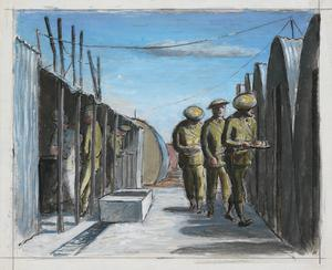 With the American Forces in Camp in Northern Ireland, 1942: The Guard Arriving for their Dinner