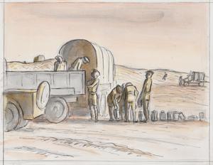 Trucks at a Water Point near El Alamein, 1942