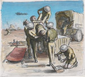 Wounded Men being Lifted Off a Jeep