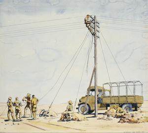 Repairing Lines on 'Dodd's Route' : Western Desert, 1941