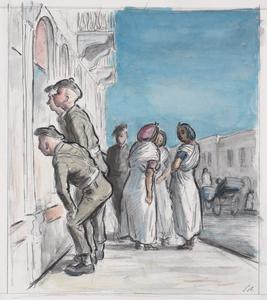A Street Scene in Tripoli with Jewish Women in their White Silk Robes