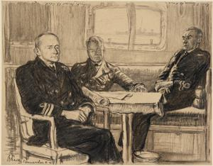 In the Deck Cabin of HMS Campeador V : left to right : Commander C H Davey, OBE, RN ; Surgeon Rear-Admiral James R Muir, RN (serving as a lieutenant, RNVR) ; Lieutenant Charles Turner, RNVR