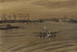 On Board an Escort Carrier : winter dusk in Belfast Harbour. Sunderland flying boats.