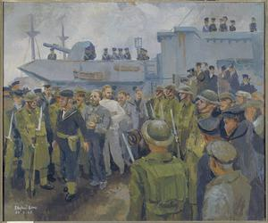 U-boat Prisoners landing from HMS Starling, 24th February 1944