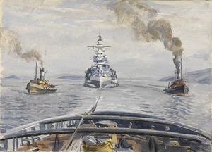 HMS Malaya in Tow
