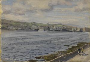 Campbeltown Harbour with HMS St Modwen and HMS Samsonia