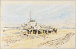Courseulles : a wrecked LCT (Landing Craft, Tank) on the beach