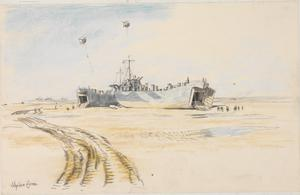 Courseulles : LSTs (Landing Ships, Tank) on the beach