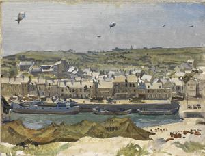 Coasting Vessel and Barges at Port-en-Bessin