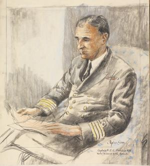 "Captain R E C Dunbar, RN : on board ""HMS Roberts"""