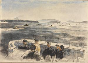 On Board HMS Conn watching the Arrival of Fourteen U-boats which Surrendered at Loch Eriboll, Sutherlandshire : 7.30 pm Whit Saturday 1945