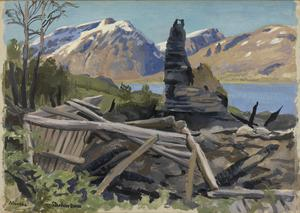 A Farmhouse at Mandal : Lyngen Fjord, burnt by the Germans