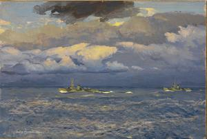 Fleet Minesweepers off Walcheren : Sunrise 1st November 1944