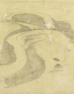 River Tigris at Ctesiphon Drawn in an Aeroplane, 1919