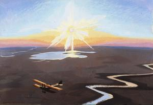 Flying Over the Desert at Sunset, Mesopotamia, 1919