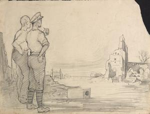Soldiers Surveying Ruins