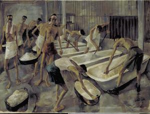 Singapore: The cookhouse, Changi Gaol. British POW's prepare their main meal of rice.