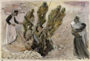 Study for 'A Pathologist and Greek National Guards recovering Mutilated Civilians from a Well, Greece' (LD 5035)