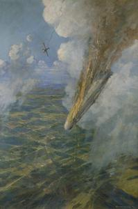 Lieutenant Warneford's Great Exploit: The first Zeppelin to be brought down by Allied aircraft, 7th June 1915. The VC was conferred at once on Lieutenant Warneford.