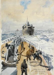 HMS Lulworth Oiling from the Tanker, San Tirsan