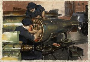 J Bailey and A E Isaaks: WRNS fitting engines in a torpedo shop