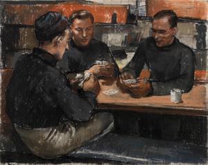 """Seaman Gunner E Pryor, Leading Seaman P H Robson, and Seaman T E Paul; in the seamen's mess, """"HMS Bay"""""""