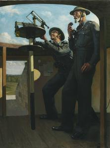 Leading Observer J O Isaacs and Chief Observer Major D H B Harfield : Royal Observer Corps