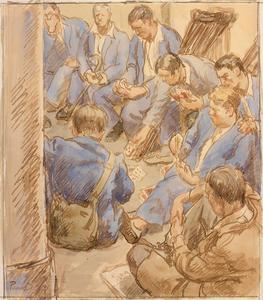Patients Playing Cards in an Air-raid Shelter
