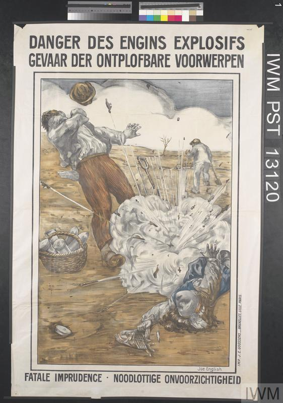 The dangers of battlefield debris; A post-war Belgian poster warning of the dangers of collecting battlefield debris. Such warnings did not deter many Belgians from making an income turning such potentially deadly items into souvenirs