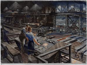 Learning her Job at a Steelworks