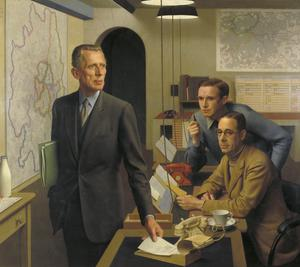 Sir Ernest Gowers, KCB, KBE, Senior Regional Commissioner for London, Lt Col A J Child, OBE, MC, Director of Operations and Intelligence, and K A L Parker, Deputy Chief Administrative Officer, in the London Regional Civil Defence Control Room 1943
