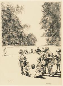 A Nursery School : Watlington Park Children in Wartime - Five lithographs by Ethel Gabain