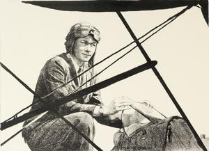 Captain Pauline Gower of the Women's Air Transport Auxiliary Women's Work in the War (Other than the Services) - Six lithographs by Ethel Gabain