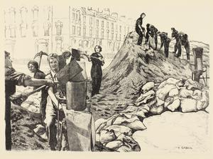 Sandbag Workers Women's Work in the War (Other than the Services) - Six lithographs by Ethel Gabain