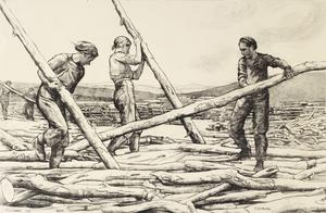 Sorting and Flinging Logs Women's Work in the War (Other than the Services) - Six lithographs by Ethel Gabain