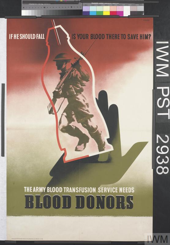 Army Blood Transfusion Service; The Army Blood Transfusion Service Needs Blood Donors, by Abram Games. Britain's Army Blood Transfusion Service was the first of its kind and provided large quantities of blood to casualties in all the fighting theatres of the Second World War. It was supported by a wide public campaign to encourage people to donate blood.
