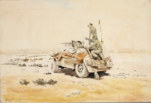 Men of the 5th South African Reconnaissance Regiment; Firing their captured 37 mm Breda gun at enemy vehicles which are throwing a mirage reflection
