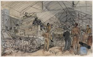 A Squad of Driving and Maintenance Trainees studying Tank Maintenance : 56th Army Training Regiment