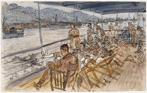 Bumboats from the Officers' Deck. 'Okey Doke' waiting off Freetown 'Convoy' series, 1941 - 1942