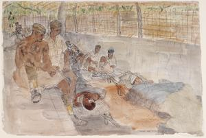 Battle of Arakan, 1943: Wounded Japanese and Arakanese Prisoners in a Main Dressing Station at Indon, behind the Donbaik Front